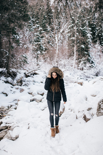 jacket tumblr hooded jacket black jacket down jacket denim jeans blue jeans boots ugg boots winter outfits winter boots cold weather outfit