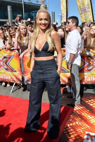 jeans top denim wide-leg pants high waisted jeans high waisted rita ora crop tops