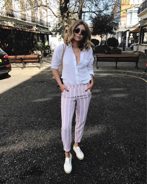 34c39b84a3 pants tumblr pink pants stripes striped pants shirt white shirt shoes white  shoes sunglasses spring outfits