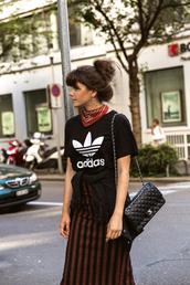 the fashion fraction,blogger,adidas,black top,stripes,chanel,chanel bag,bandana,striped skirt,adidas originals,black t-shirt,college,outfit idea,cute outfits,bun
