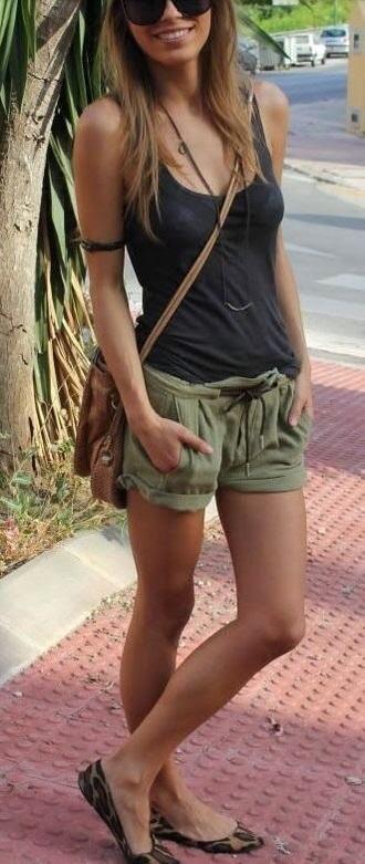 shorts khaki linen shorts green loose shorts