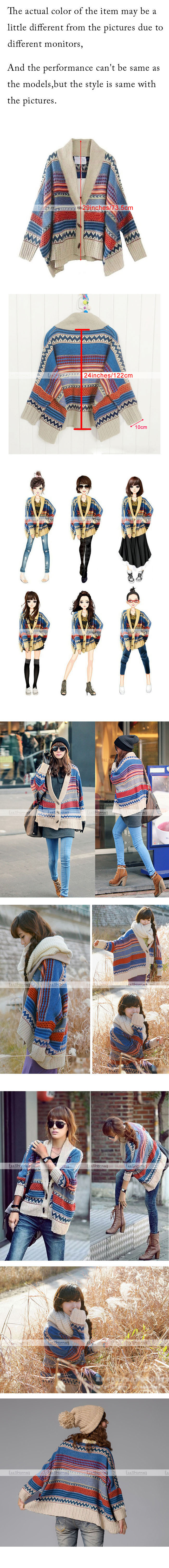 New Women Bohemian Tribal Oversized Knit Bat Sleeve Sweater Knitwear Cardigan #Y | eBay