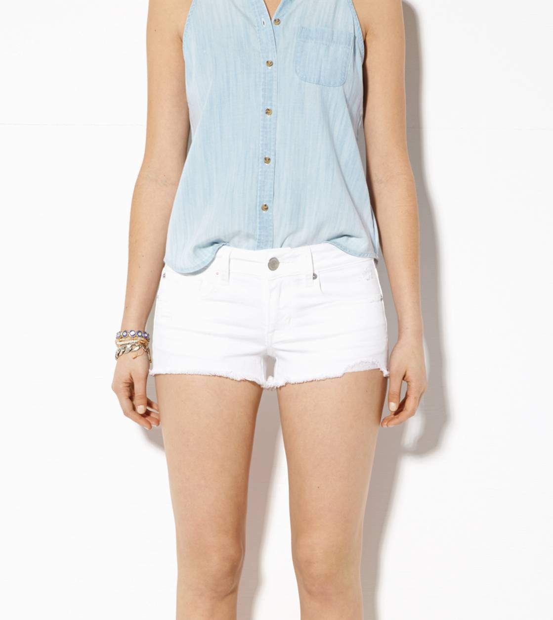 25ec7066f5 AE Denim Shortie, White | American Eagle Outfitters