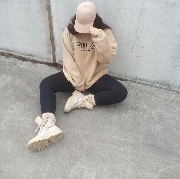 sweater beige beige sweater fila cap