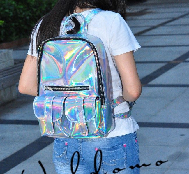 Aliexpress.com : Buy Silver Hologram Laser Backpack Bag Handbag Multicolor Silver Business Zipper Backpack from Reliable bags and suppliers on Beauty Life-BAG