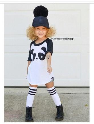 girl girly panda oversized shirt combat boots hat leather leather hat socks knee high socks fashion kids fashion
