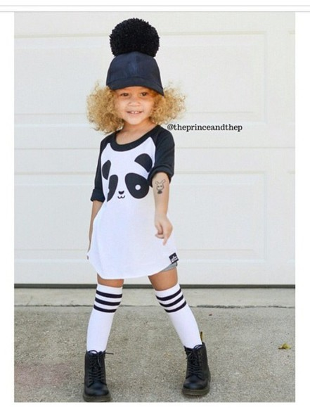 hat fashion kids fashion girl girly panda oversized shirt combat boots leather leather hat socks knee high socks