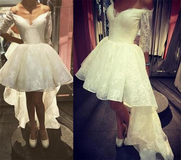 Dress high low lace wedding dresses off shoulder wedding for Long sleeve high low wedding dresses