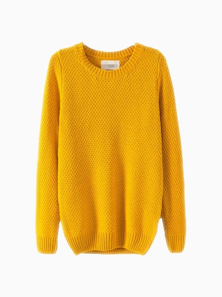 Yellow Sweater In Structured Knit | Choies