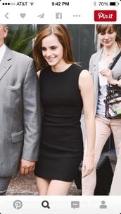 dress,emma watson,black dress,mini dress