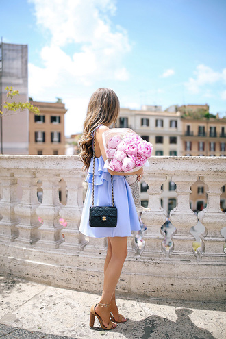 southern curls and pearls blogger dress bag jewels shoes make-up chanel bag blue dress mini dress summer outfits