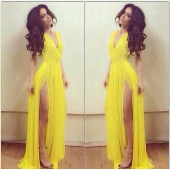 yellow dress yellow yellow gown leg slit dress leg slit