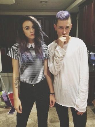 blouse acacia brinley stripes collar peter pan collar striped shirt tattoo hipster menswear