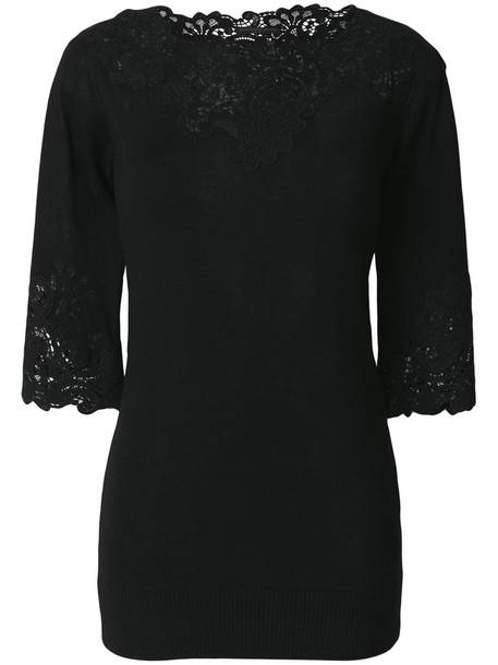 Ermanno Scervino sweater embroidered women lace black wool