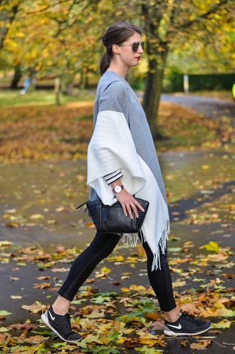 thank fifi blogger bag stripes fall sweater fringes poncho