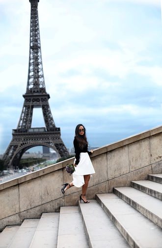 nataliaoona blogger skirt shirt shoes white skirt black top sandals high heel sandals fall outfits