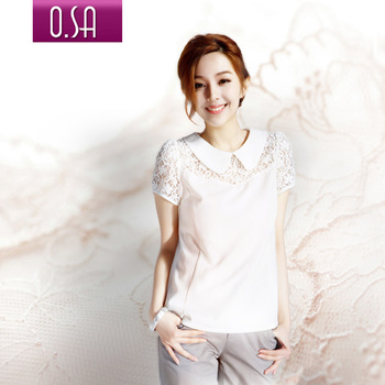 Free shipping Osa2012 summer women's lace peter pan collar shirt women's white short sleeve shirt c21168-inBlouses & Shirts from Apparel & Accessories on Aliexpress.com
