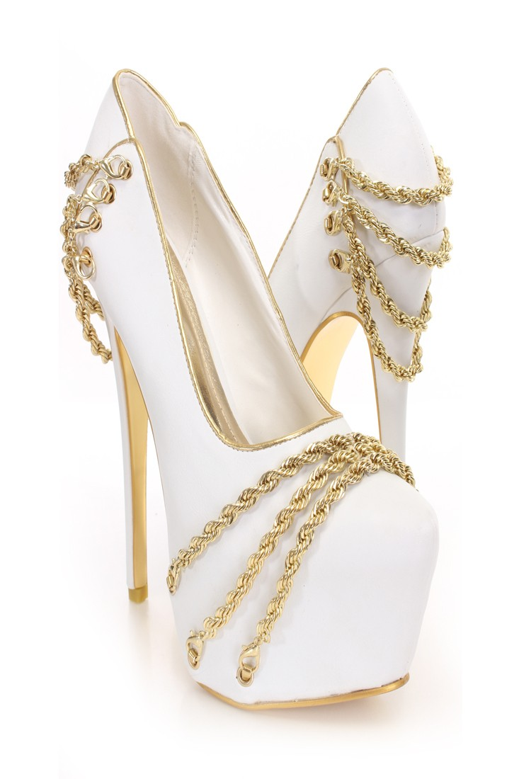 White Gold Chain Decor Platform Pumps @ Amiclubwear Heel Shoes online store sales:Stiletto Heel Shoes,High Heel Pumps,Womens High Heel Shoes,Prom Shoes,Summer Shoes,Spring Shoes,Spool Heel,Womens Dress Shoes,Prom Heels,Prom Pumps,High Heel Sandals,Cheap D