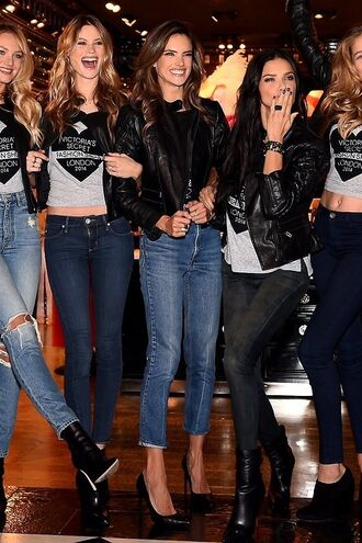 jacket leather jacket alessandra ambrosio adriana lima victoria's secret fashion behati prinsloo candice swanepoel