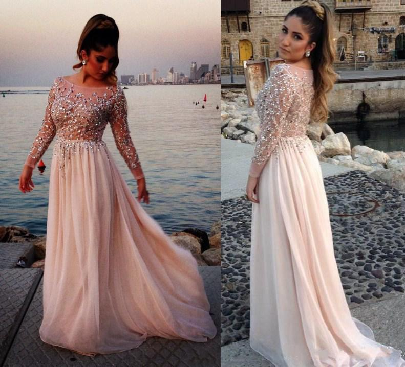 Wholesale Celebrity Evening Dress - Buy Hot Sale Elie Saab Beaded Crystal  Evening Dresses Sheer Scoop Long Sleeves Chiffon Prom Gowns Pageant Dress  ...