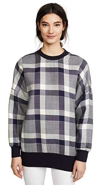 Adam Lippes sweatshirt gingham navy sweater