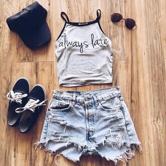 shorts outfit outfit idea keds black keds denim shorts crop tops cap always late sunglasses