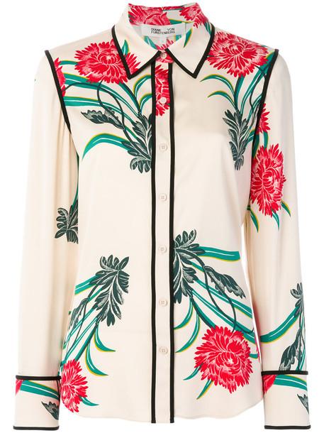 Dvf Diane Von Furstenberg shirt women spandex oriental print nude print silk top