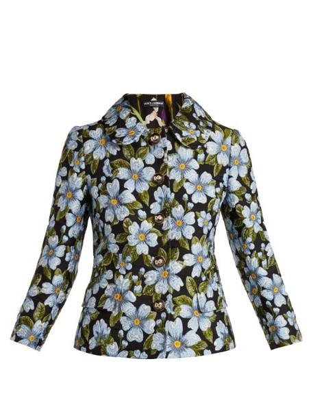 Dolce & Gabbana - Floral Jacquard Jacket - Womens - Blue Multi