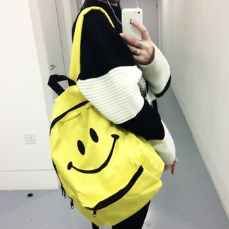 bag yellow backpack yellow bag smiley face backpack