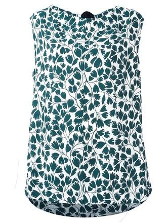 blouse printed blouse sleeveless women silk green top