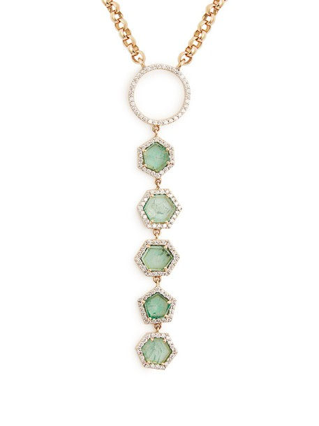 JADE JAGGER necklace gold necklace gold yellow green jewels