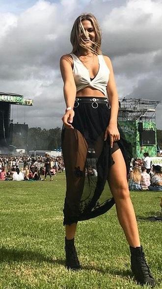 skirt maxi mesh skirt crop tops festival