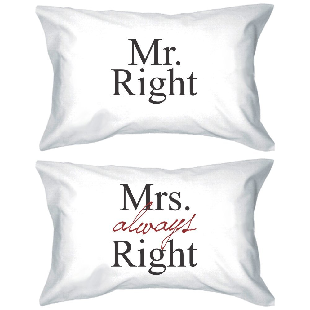 Amazon.com - His and Hers Pillowcases 220-Thread-Count - Mr Right and Mrs Always Right Matching Pillow Covers for Couples -