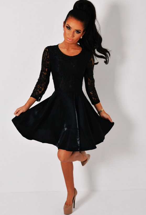 Black Long Sleeved Lace Skater Dress | Pink Boutique