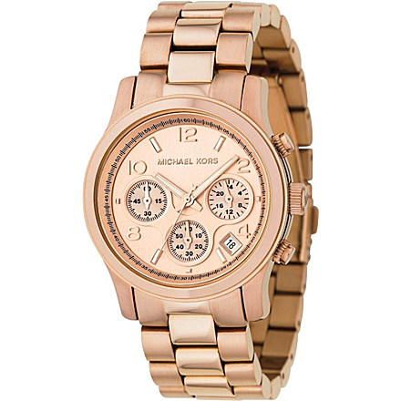 MICHAEL KORS - MK5128 rose gold-plated chronograph watch | Selfridges.com