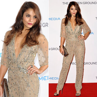 dress embellished shiny beaded jumpsuit nude red carpet vanessa hudgens jenny packham