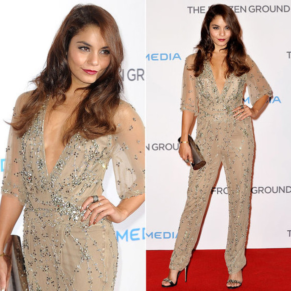 red dress beaded embellished jenny packham vanessa hudgens shiny jumpsuit nude carpet