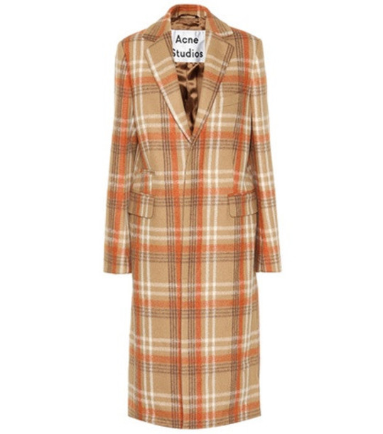 Acne Studios Checked wool-blend coat in brown