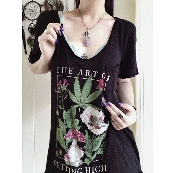 t-shirt black v neck plunge v neck illustration weed plants plants baby