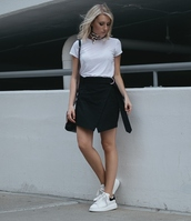 skirt,tumblr,mini skirt,wrap skirt,t-shirt,white t-shirt,sneakers,white sneakers,shoes,scarf