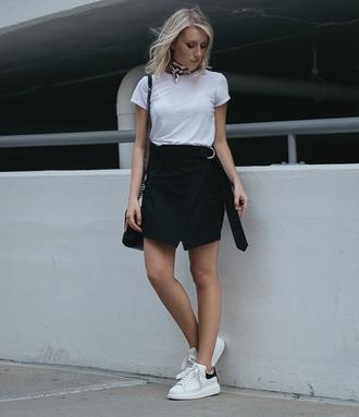 skirt tumblr mini skirt wrap skirt t-shirt white t-shirt sneakers white sneakers shoes scarf