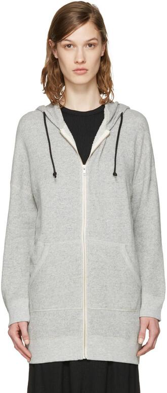hoodie long grey sweater