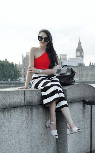 zebratrash blogger top pants shoes sunglasses jewels bag sandals striped skirt red top