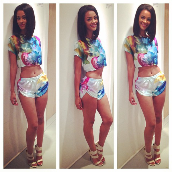 bgc bgc12 high heels bad girls club model slim hair flowered shorts floral skirt two-piece beautiful gorgeous awsome amazing hairstyles blue yellow white pink green light blue shorts lovely outfit tanks top instagram twitter tumblr clothes tumblr instagram twitter followers summer outfits clothes super cute fancy top set jumpsuit jacket