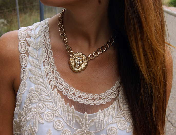 The Golden Lion Head Crude Necklace | Choies