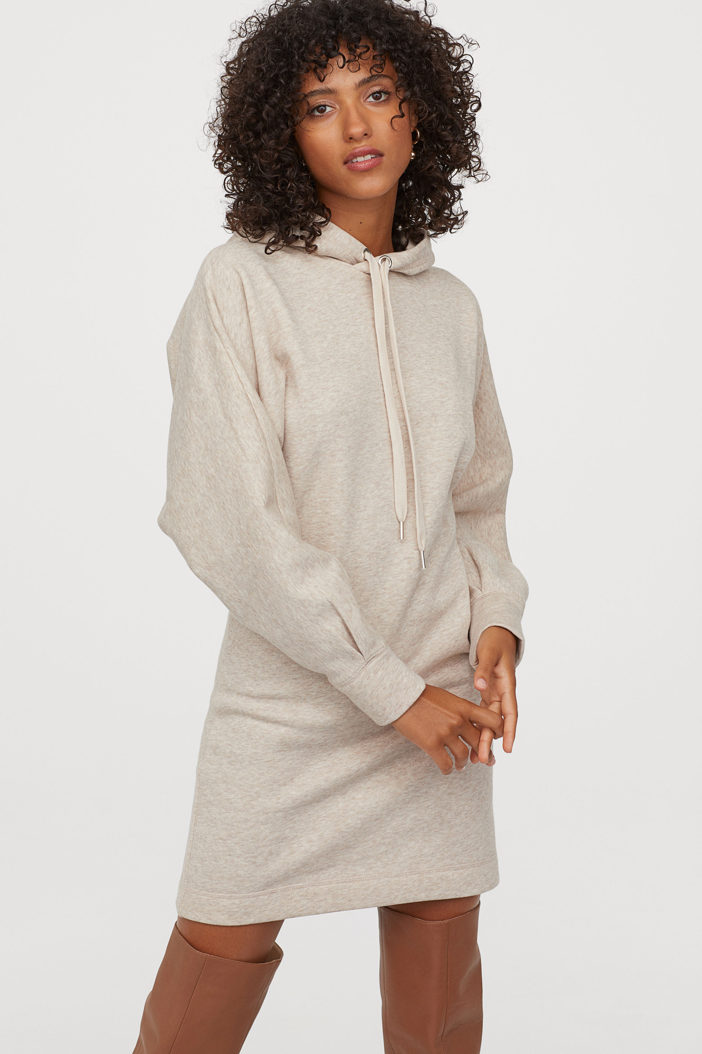 Long Hooded Sweatshirt - Light beige melange - Ladies | H&M US