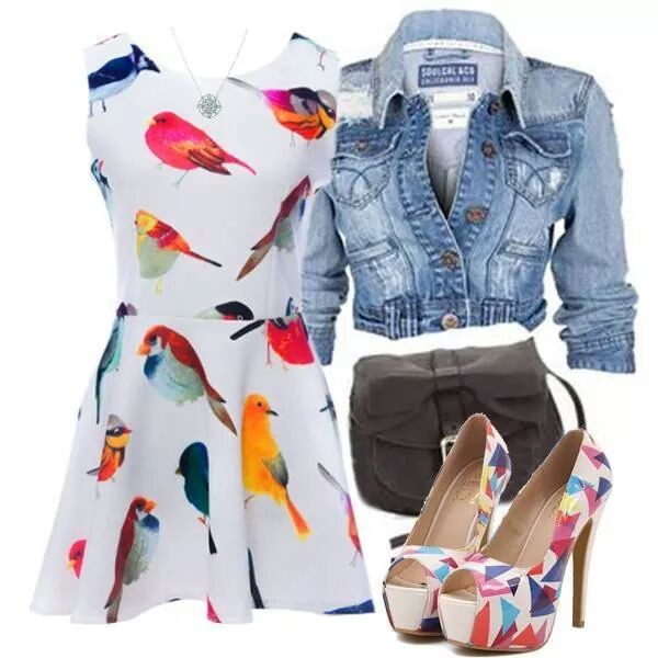 dress birds colorful cute whimsical white playful
