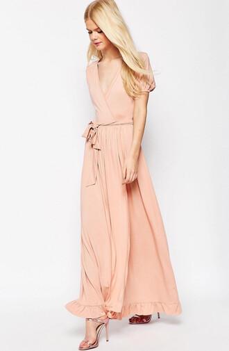 dress pink pink dress long dress v neck wrap dress