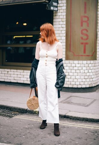top white pants jacket white white top pants boots leather jacket bag round bag