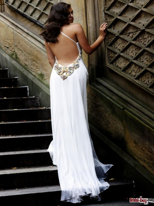 Buy Custom Made High Quality Amazing! Sexy Column V-Neck Back Jeweled Long White Lace Evening Dresses ED20708 at wholesale cheap prices from Bridal-Buy.com